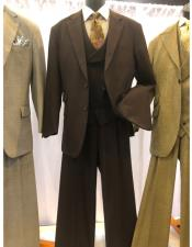 EK433 Mens Brown Single Breasted Two Button Suit