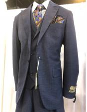 mens Single Breasted Blue Suit