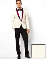 EK447 Mens White Single Breasted One Button Burgundy Shawl