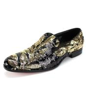 EK484 Mens Black ~ Gold Slip On Shoe