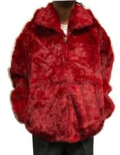 EK493 Mens Rabbit Fur Hooded Jacket Zip Up Style