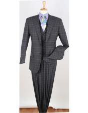 W8020 Single breasted cuff link grey pleated suit for