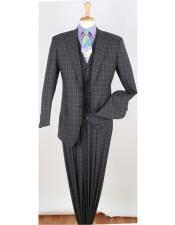 W8020 2 Button Peak Lapel 3 Piece 100% Wool