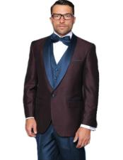 EK504 Mens Navy Blue Shawl Lapel Single Breasted Tuxedo