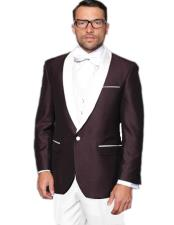 EK505 Mens Single Breasted White Shawl Lapel Tuxedo Plum