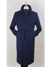 EK507 Full Length Pinstripe Stripe Topcoat Overcoat ~ Trench