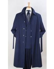 EK508 Full Length Pinstripe Stripe Topcoat Overcoat ~ Trench