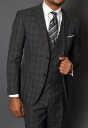 JA795 Statement Vested 3 Piece 100% Wool Suit -