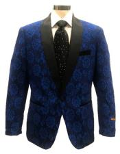 Blue ~ Black Single Breasted Shawl Lapel Blazer