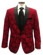 mens One Button Red ~ Black