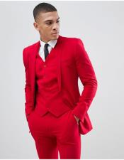 Mens Mens Red Suit Single Breasted