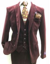 Burgundy Single Breasted One Button Suit