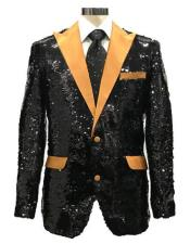 Black ~ Gold One Chest Pocket One Button Suit