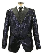 Black ~ Silver Peak Lapel Flap Front Pockets Blazer
