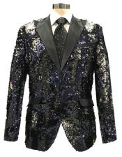 mensBlack~SilverTwoButtonShinyPatternReversibleSequin
