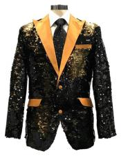 mens Black ~ Gold Satin Peak