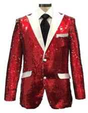 mens Reversible Sequin Red & White