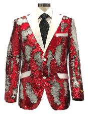mens Red ~ White Peak Lapel