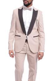 Peak Lapel Solid Tan ~ Beige 1920s Tuxedo Style