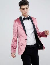 Single Breasted One Button Super Skinny Pink Blazer