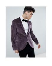 One Button Single Breasted Purple Black and Purple Tuxedo