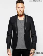VT41 Mens One Button Single Breasted Shawl Lapel Black
