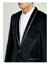 VT44 Mens Single Breasted One Button Shawl Lapel Black