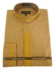 DS3112C Daniel Ellissa Mens Collarless Embroide Gold Shirt