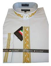 DS3113C Daniel Ellissa Mens Collarless Embroide White ~ Gold