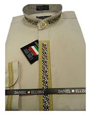 DS3111C Daniel Ellissa Mens Beige Embroide Collarless Shirt