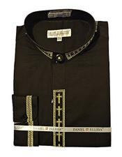 VTDS2005C Daniel Ellissa Mens Collarless Black ~ Gold Embroide