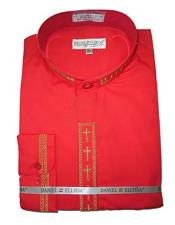 VTDS2005C Daniel Ellissa Mens Embroide Collarless Red Shirt