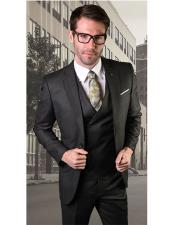 VT108 Mens Single Breasted Two Button Notch Lapel Black