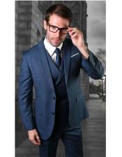 VT109 Mens Two Button Single Breasted Blue Notch Lapel
