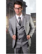 VT110 Mens Gray Single Breasted One Button Suit