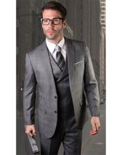 VT111 Mens Two Button Charcoal Single Breasted Charcoal Suit