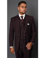 Mens Maroon Single Breasted Striped Pattern Two Button Suit