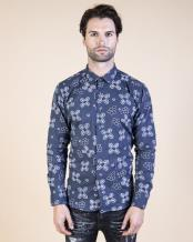 Mens Bee - Floral Print Shirt Navy