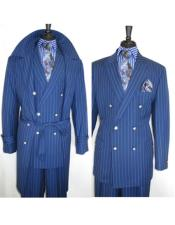 Mens Two Button Double Breasted Peak Lapel Blue Suit
