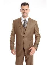 Mens Two Button Regular Fit Dark Taupe Single Breasted