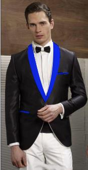 Mens Black Suit Single Breasted Blue