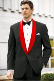 Mens Black Suit Single Breasted Red