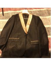 Mens Black ~ Gold Single Breasted One Button Shawl