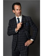 Mens Single Breasted Two Button Checked Pattern Navy Suit