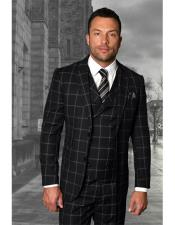 Mens Two Button Black Checked Pattern Ticket Pocket Single