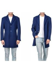 Royal Blue ~ Indigo Mens Wool Blend Coat