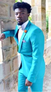 Mens Single Breasted Peak Lapel Blue