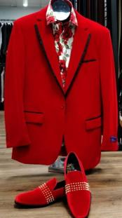 Mens Single Breasted Peak Lapel Red Suit