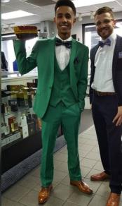 Mens Single Breasted Peak Lapel Green Suit for Men
