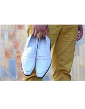 Mens Carrucci White Slip On Shoe
